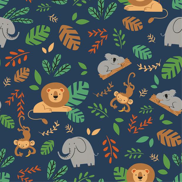 Baumwolljersey mit Dschungeltieren - dunkelblau