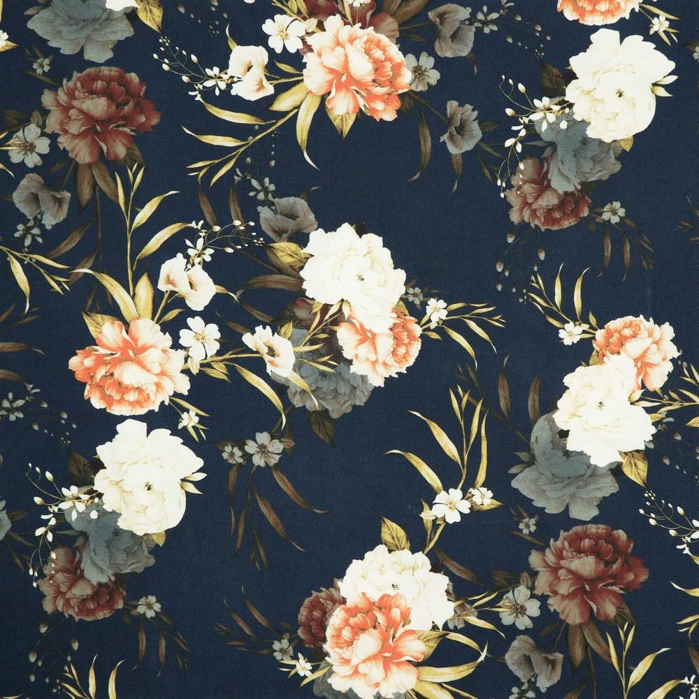 Viskose Digital mit Blumen - navy