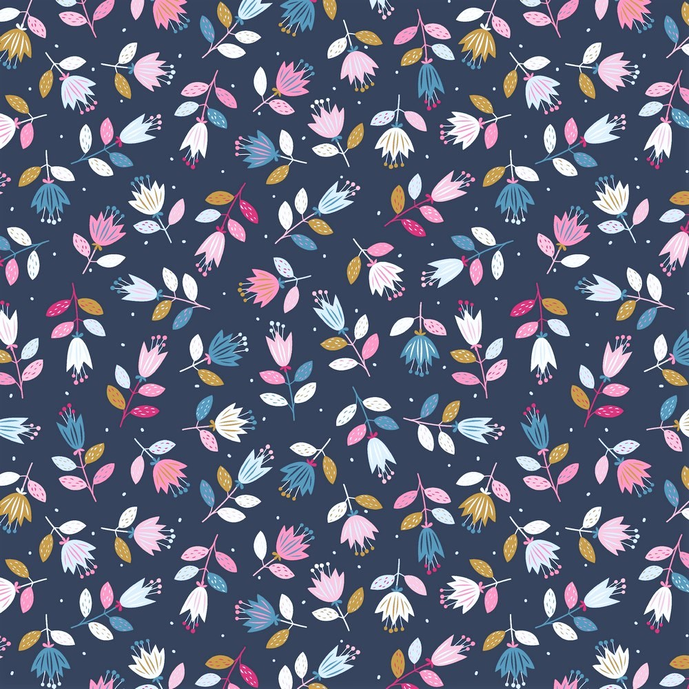 "Sommersweat Organic Cotton ""Spring Flowers"" - navy"