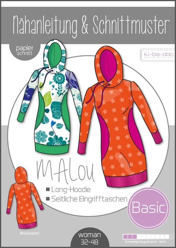 Papierschnittmuster MAlou Damen-Long-Hoodie 32-48 von Ki-ba-doo