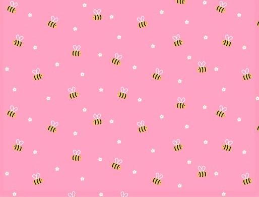 Baumwollstoff rosa mit kleinen Bienen