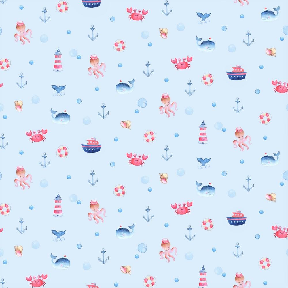"Digitaljersey Organic Cotton ""Under The Sea"" - hellblau"