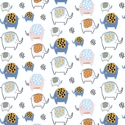 "Softsweat angeraut Organic Cotton ""Elephants"" - weiß"