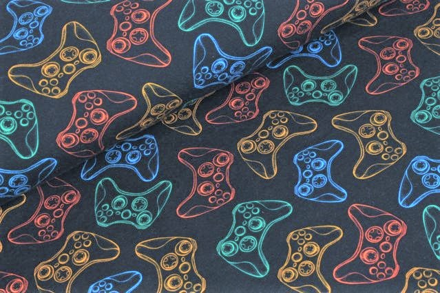 "Sommersweat angeraut ""Game Controller"" - navy"