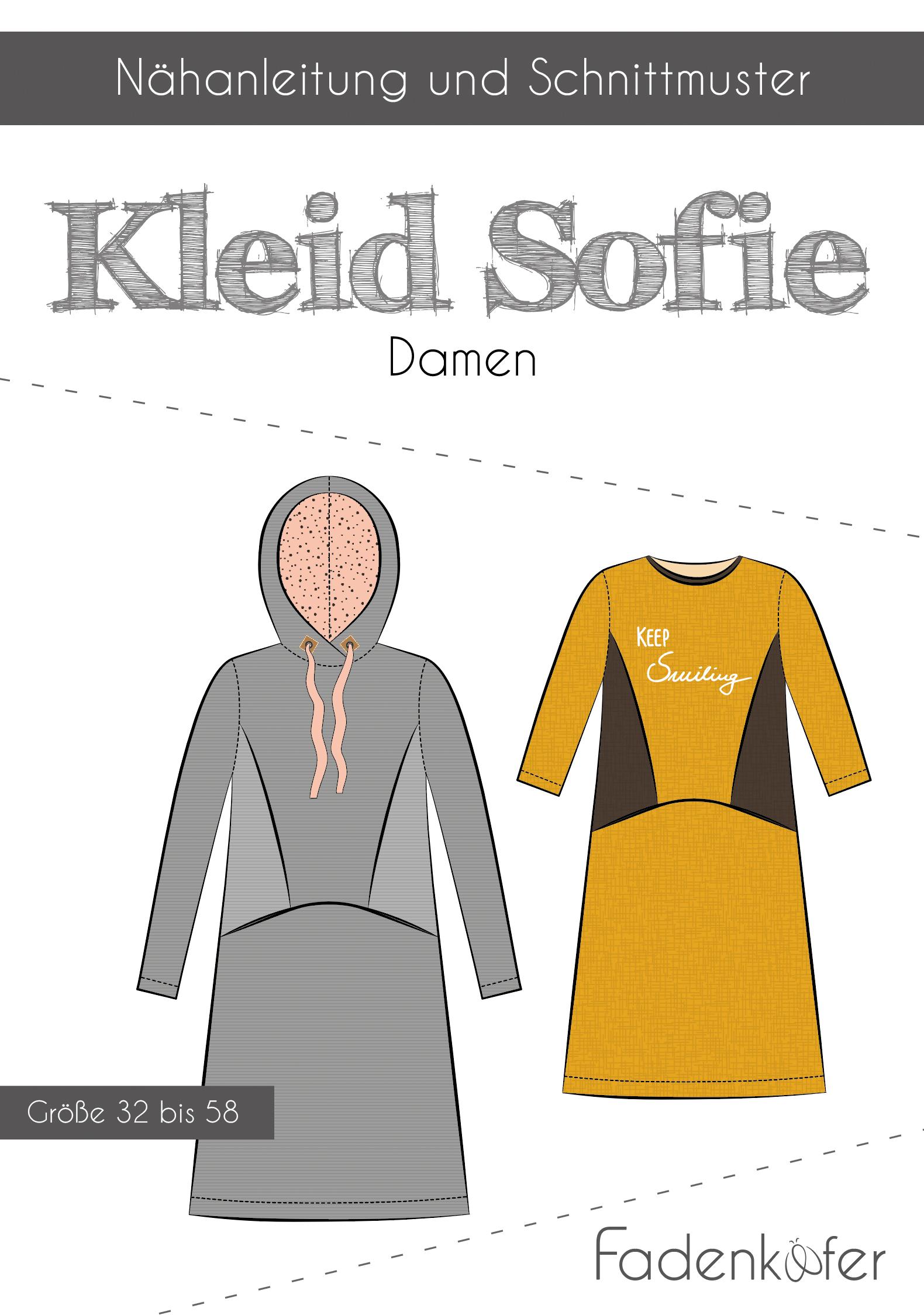 Papierschnittmuster Kleid Sofie für Damen 32-58 von Fadenkäfer