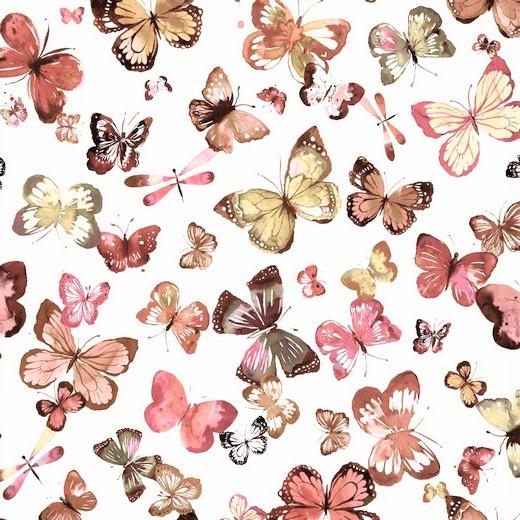 Sommersweat Organic Cotton weiß mit Schmetterlingen - Digitaldruck