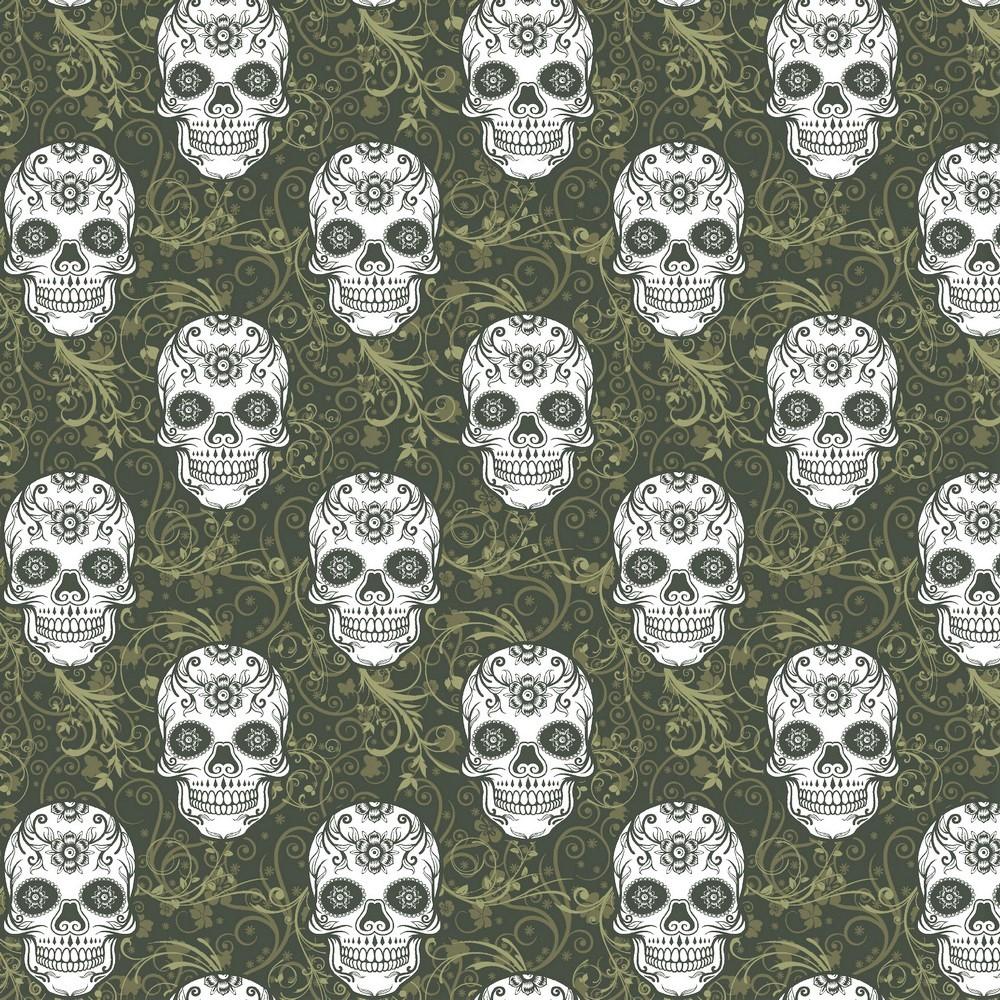 "Sommersweat Organic Cotton ""Skulls"" - armygrün"
