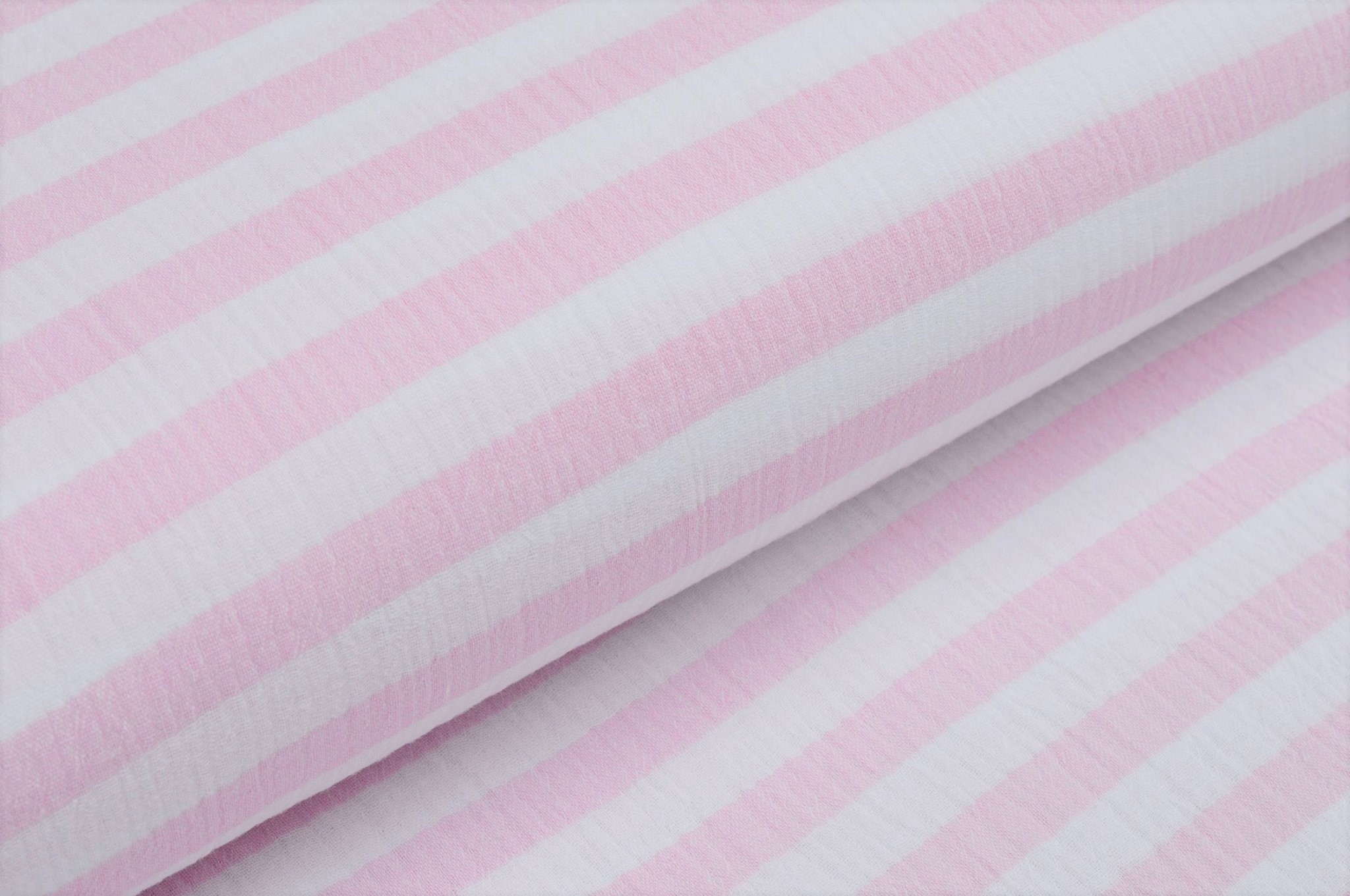Baumwolle Musselin Double Gauze mit Streifen - ecru/rosa
