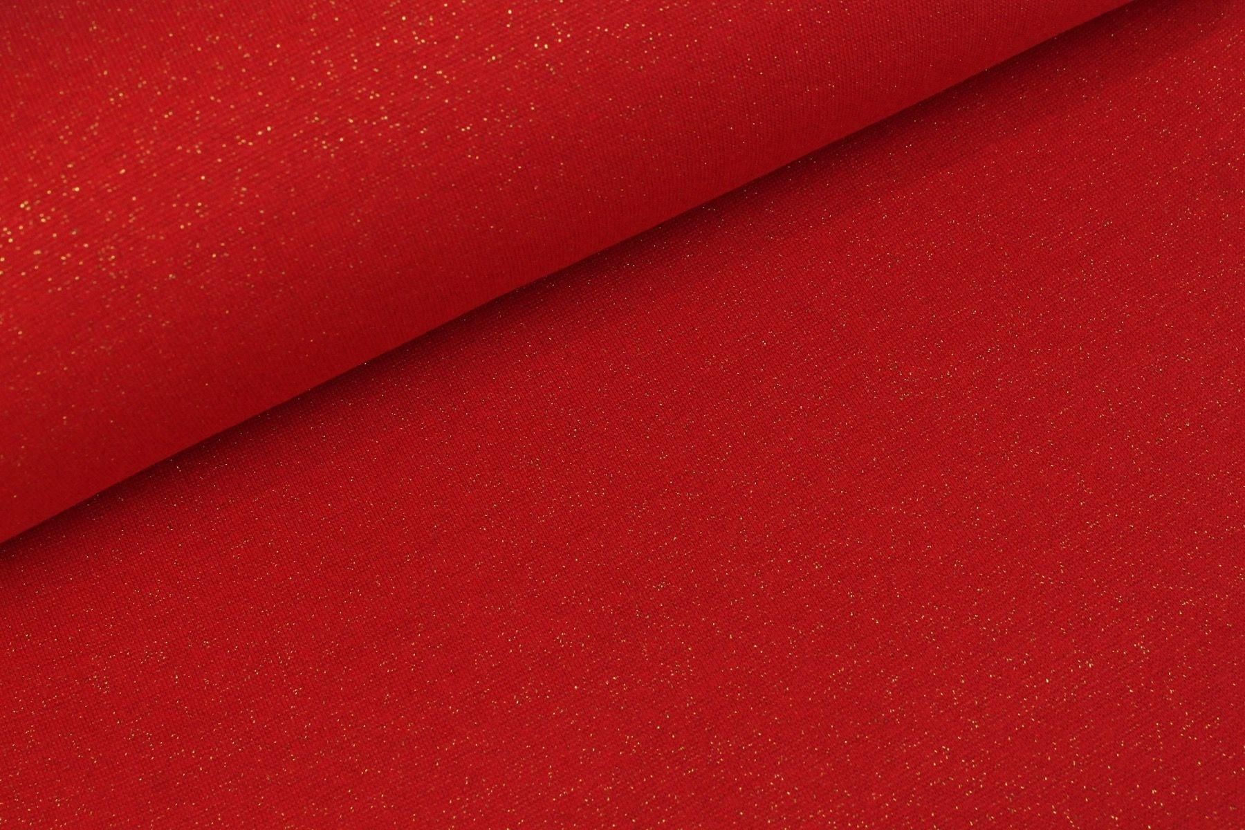 Bündchenstoff uni rot mit Gold Lurex