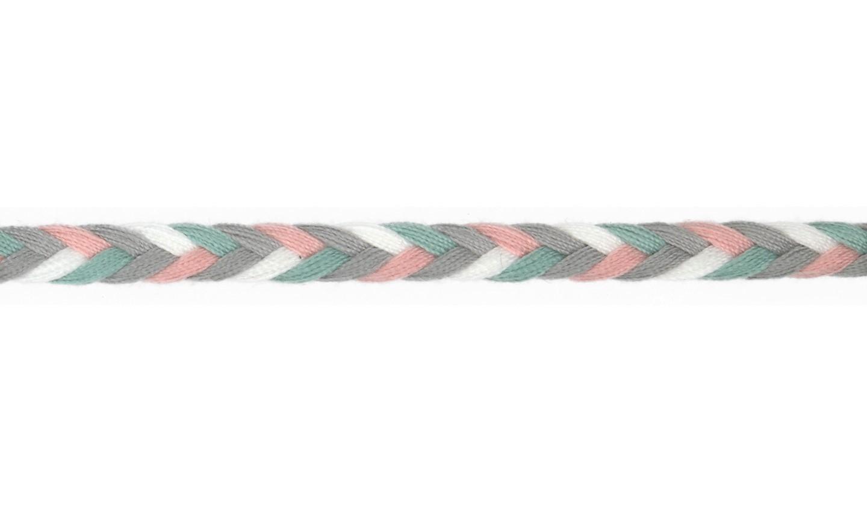Kordel geflochten Baumwolle 8mm flach grau, dusty mint, altrosa, weiß
