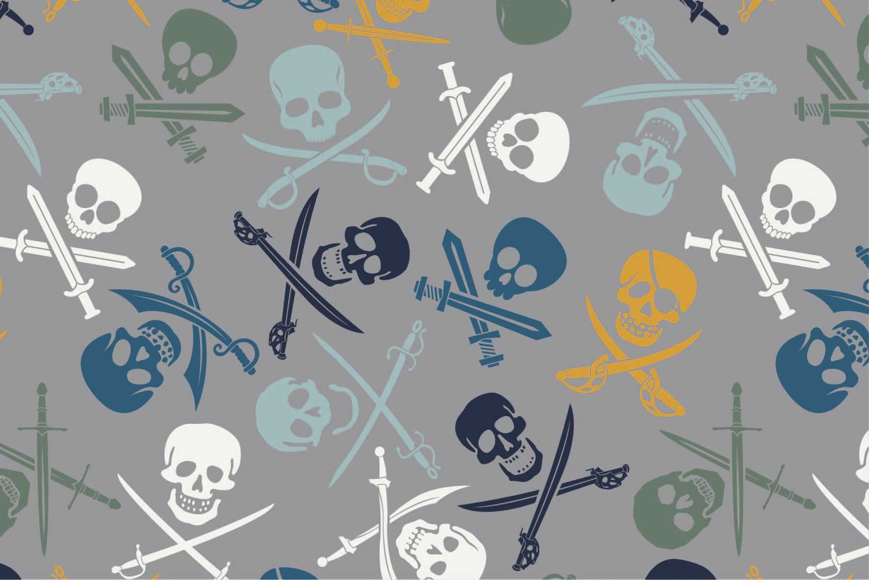 "Digitaljersey ""Pirate Skulls"" - grau"