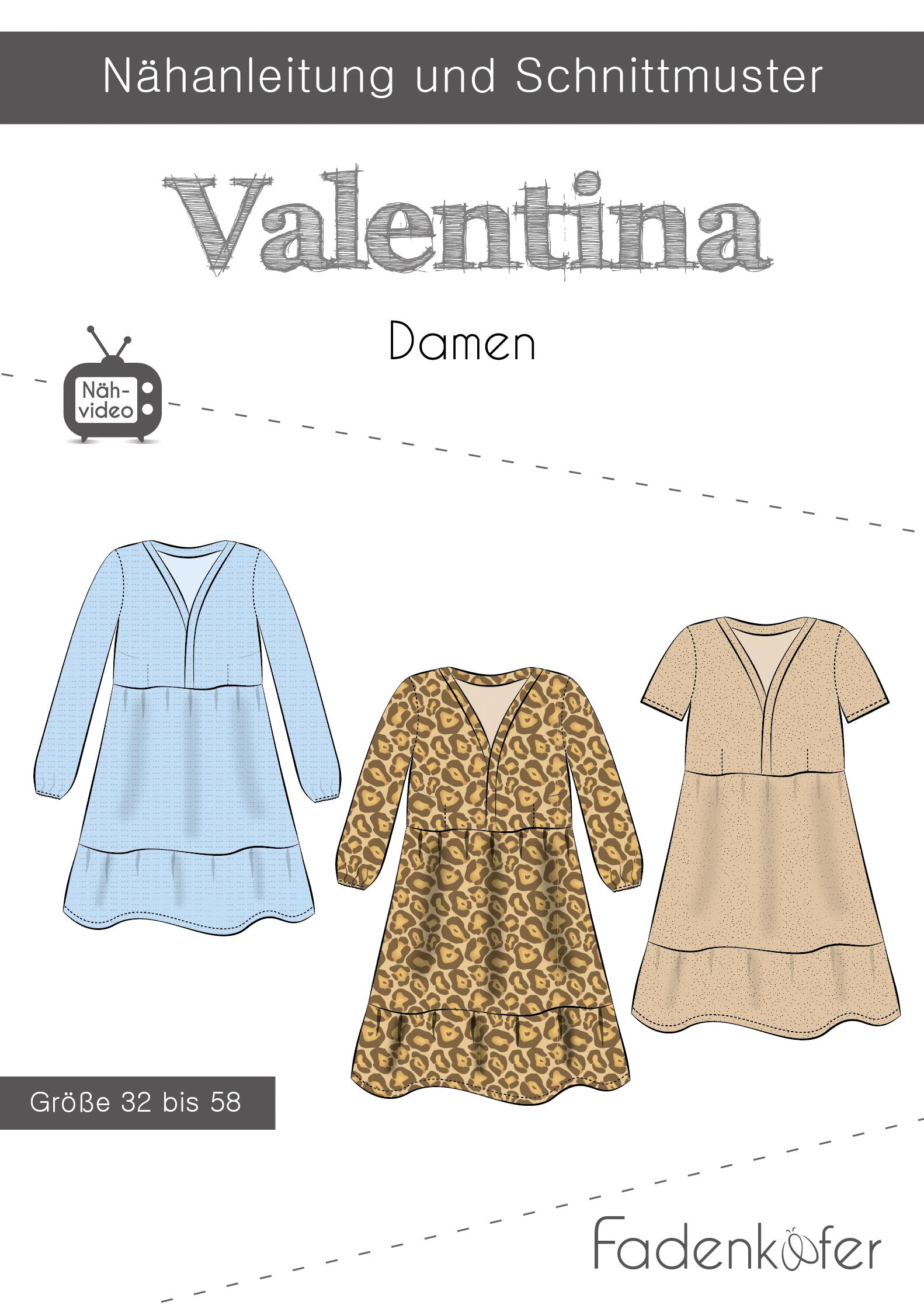 Papierschnittmuster Kleid Valentina  für Damen 32-58 von Fadenkäfer