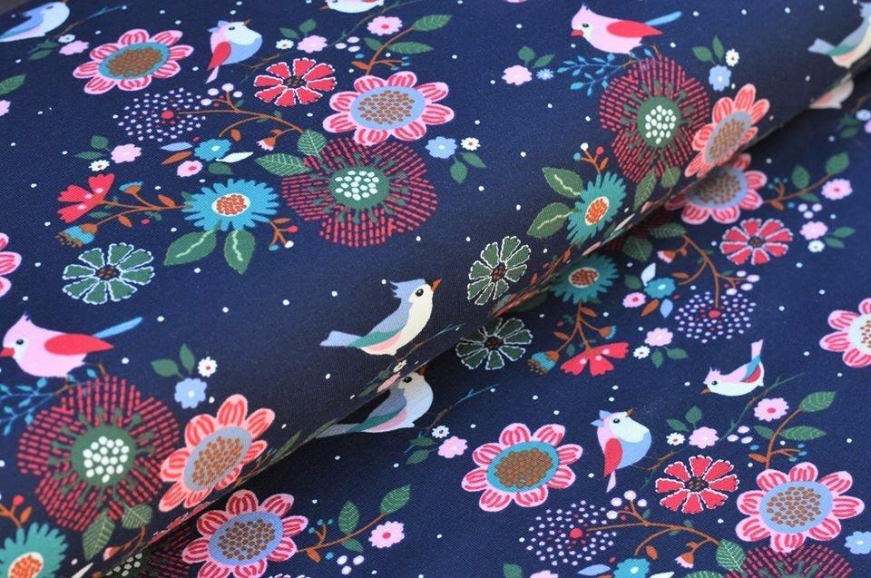 "Sommersweat navy ""Birds in the Flower"""