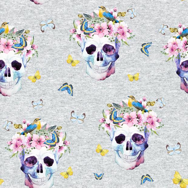 "0,41m Reststück     Sommersweat ""Flower Skulls & Butterflies"" - hellgrau meliert Kopie"