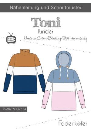 Papierschnittmuster Hoodie Toni für Kinder 74-164 von Fadenkäfer