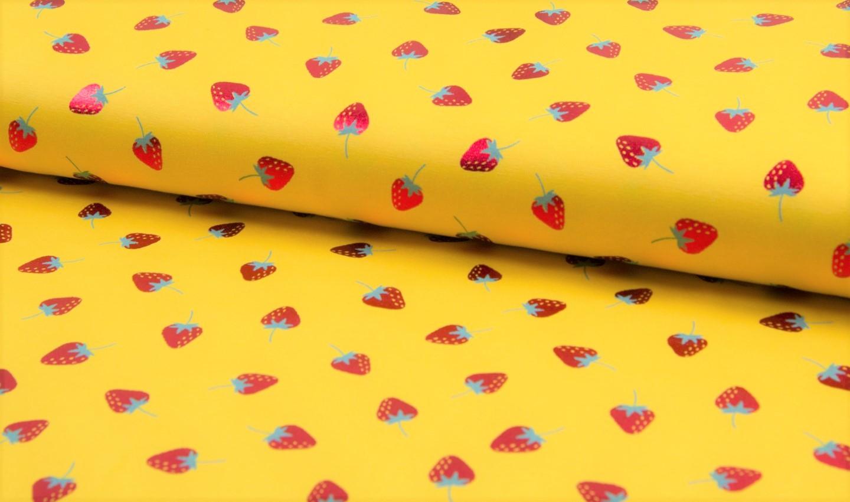 1,01m Reststück   Baumwolljersey gelb mit Erdbeeren (Foliendruck)