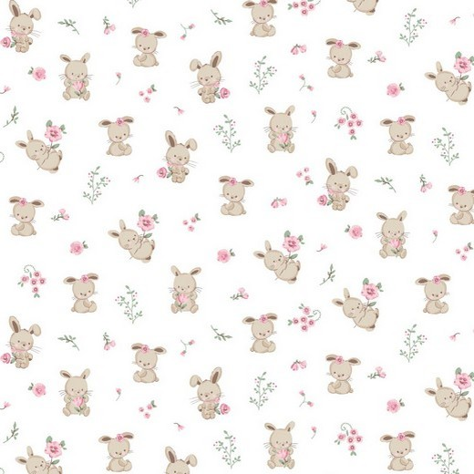"""Baumwollstoff  """"Sweet Bunny"""" - ecru"""