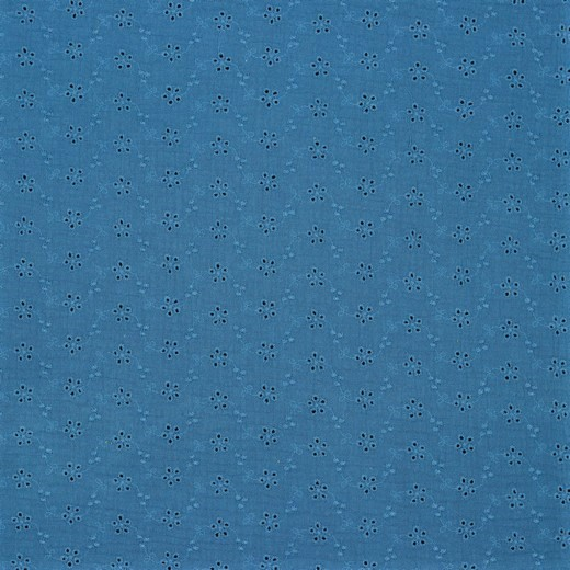 Double Gauze / Musselin uni jeansblau mit Lochstickerei