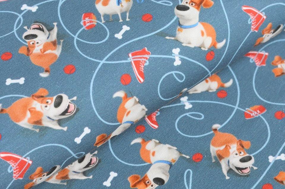 "Baumwolljersey ""Pets"" jeansblau mit Jack Russel Terrier Max - Lizenzstoff"