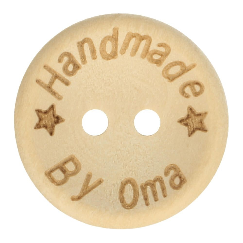 """Holzknopf """"Handmade by Oma"""" 20mm"""
