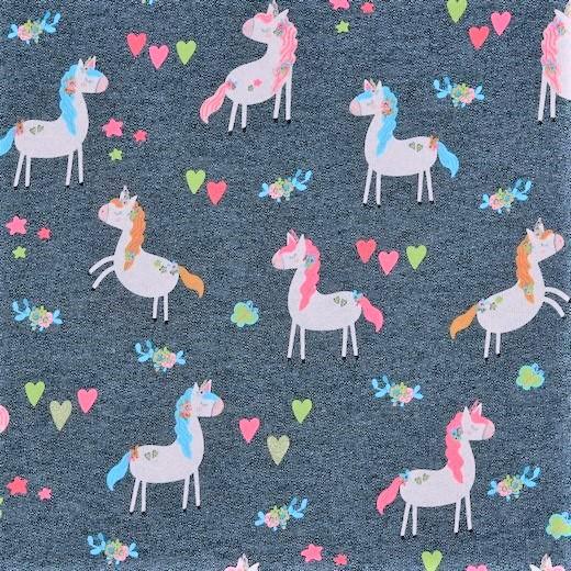 "Sweat angeraut ""Glitter Unicorn Party"" - dunkelblau melange"
