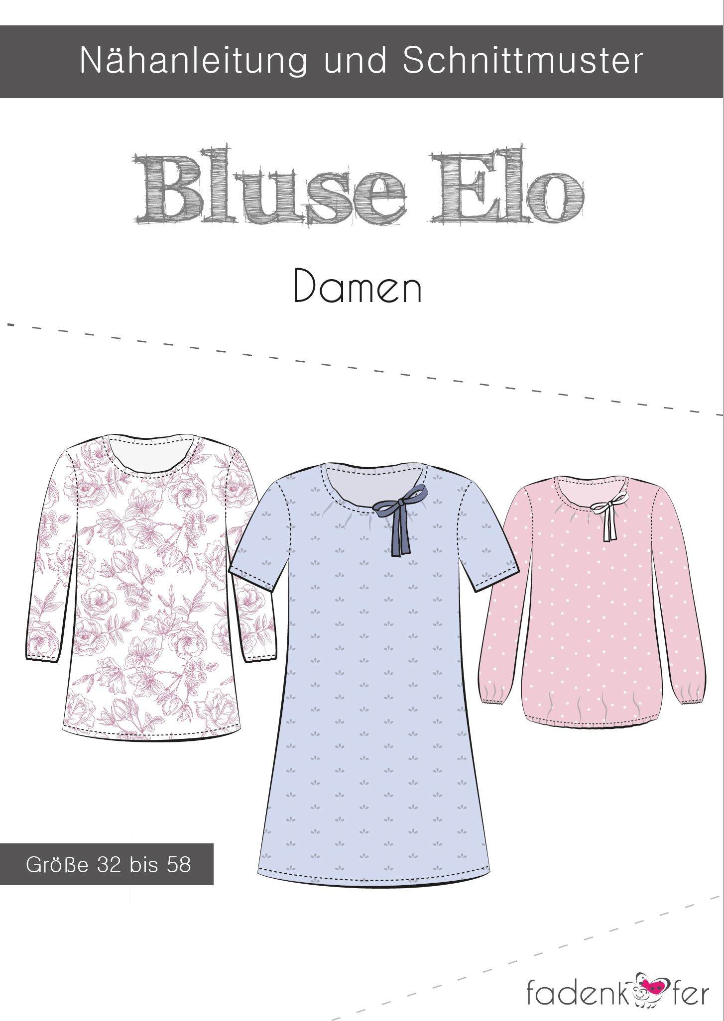 Papierschnittmuster Bluse Elo für Damen 32-58 von Fadenkäfer
