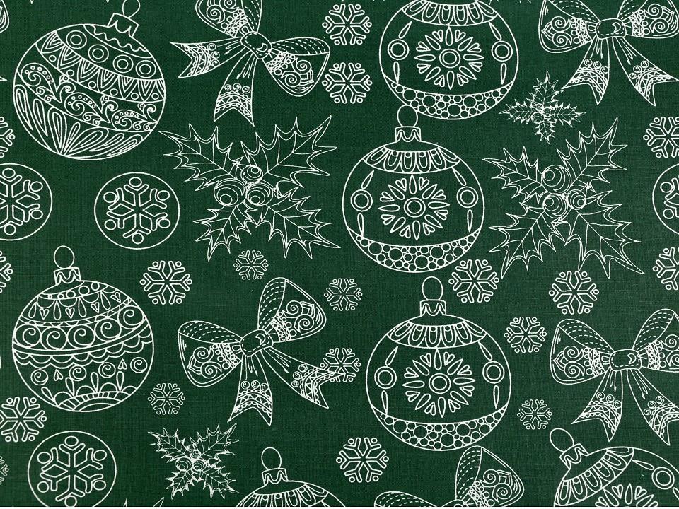 Baumwollstoff dunkelgrün mit Schleifen und Weihnachtskugeln