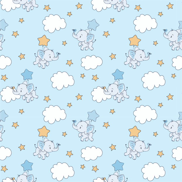 "Baumwollstoff ""Clouds and Elephants"" - hellblau"