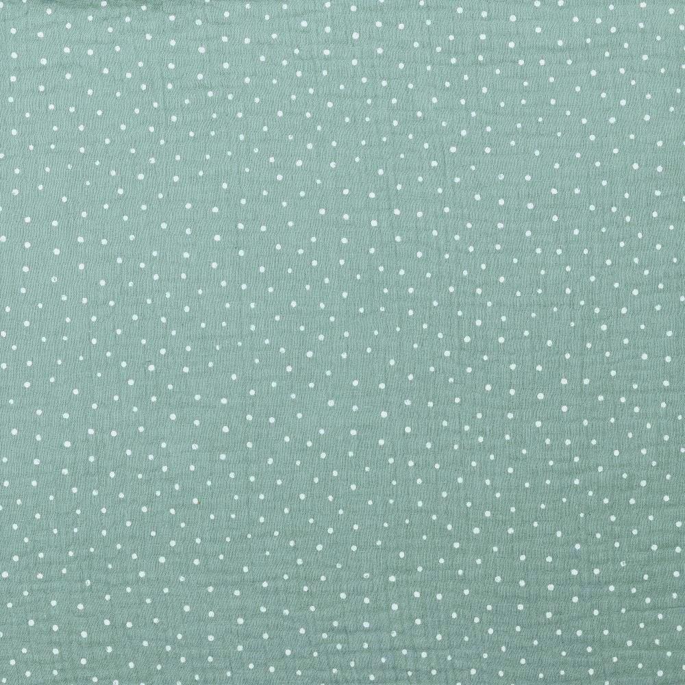 0,86m Reststück    Baumwolle Musselin Double Gauze dusty mint mit weißen Dots