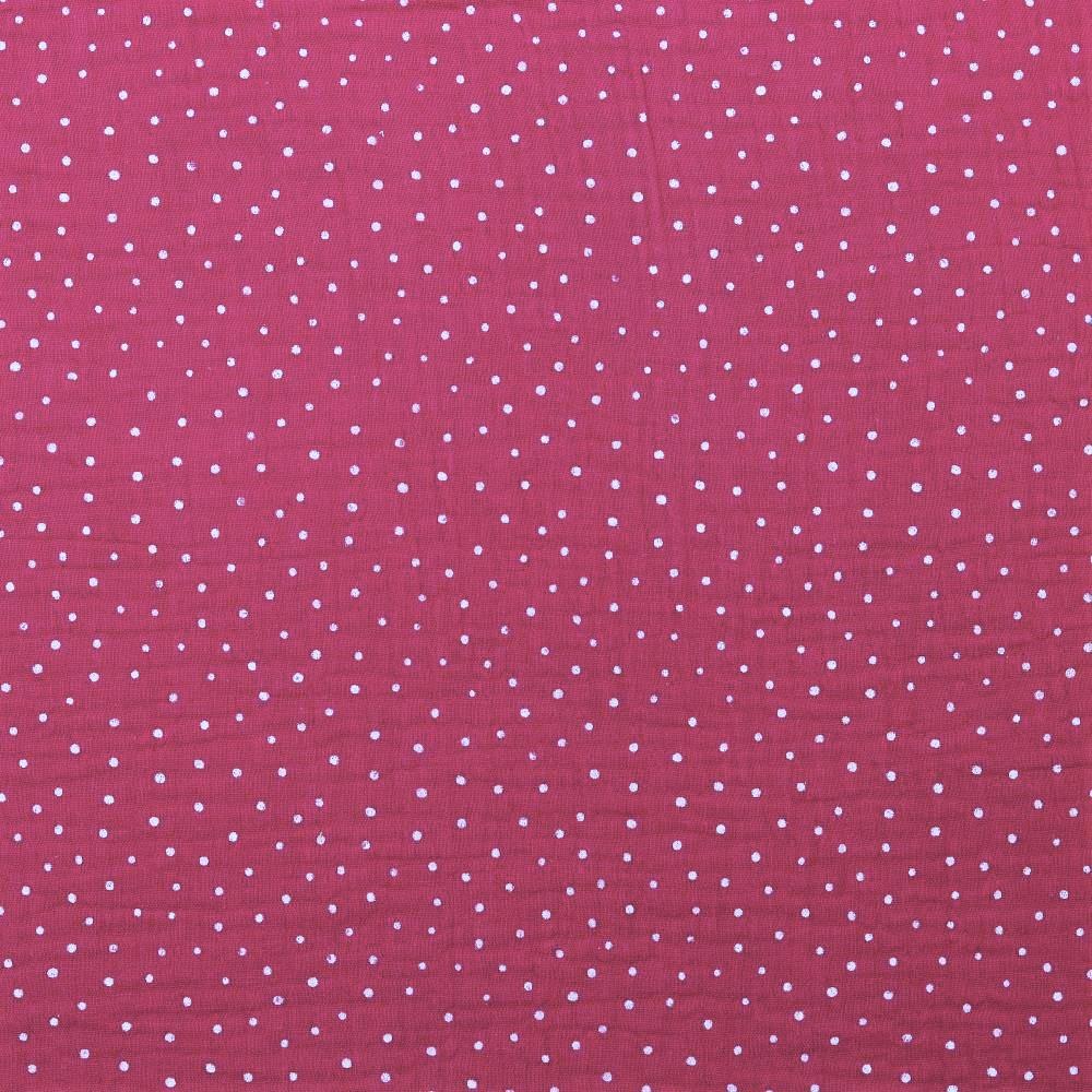 Baumwolle Musselin Double Gauze dunkelpink mit weißen Dots