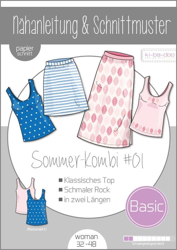 Papierschnittmuster Damen Sommer Kombi  #01 32-48 von Ki-ba-doo