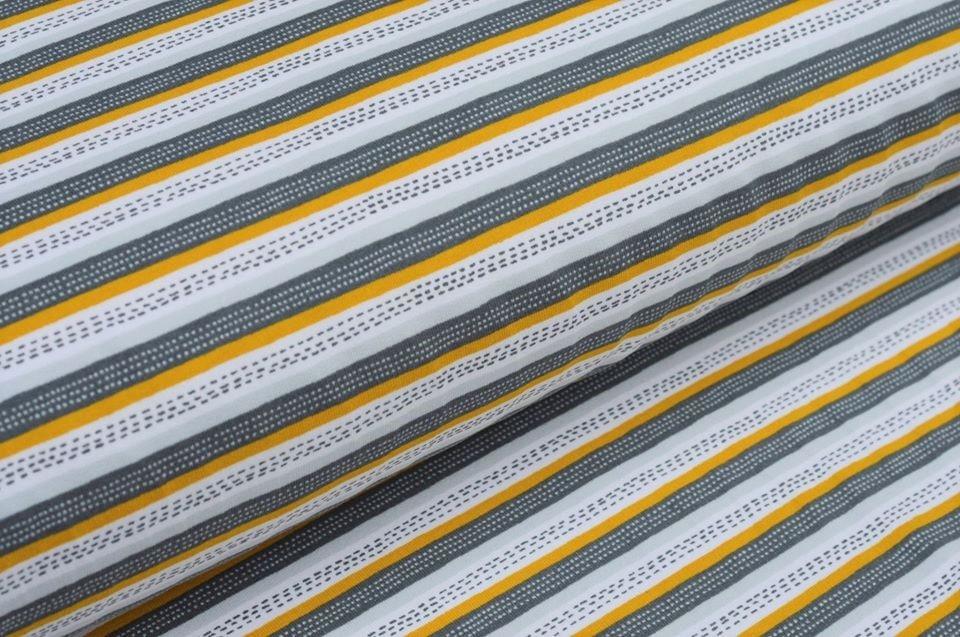 Softsweat angeraut Organic Cotton mit Streifen - ocker