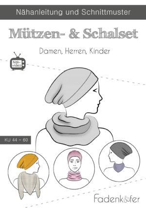 Papierschnittmuster Mützen-Schal-Set von Fadenkäfer