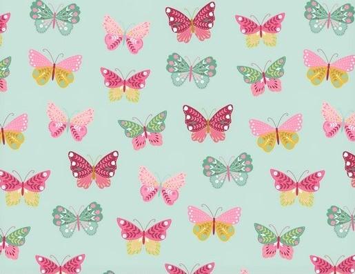 Baumwollstoff mint mit bunten Schmetterlingen