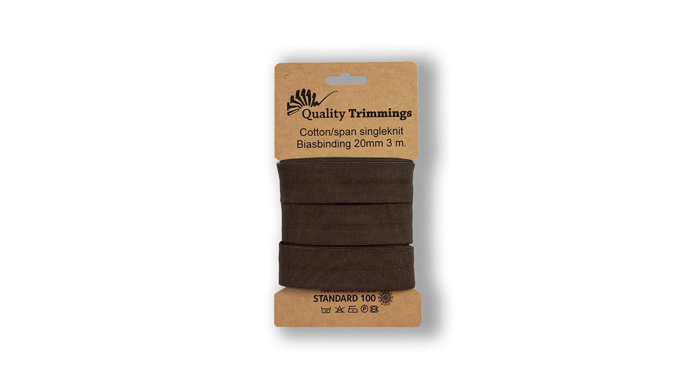 Schrägband Jersey Ben uni brown (058) Karte 3m
