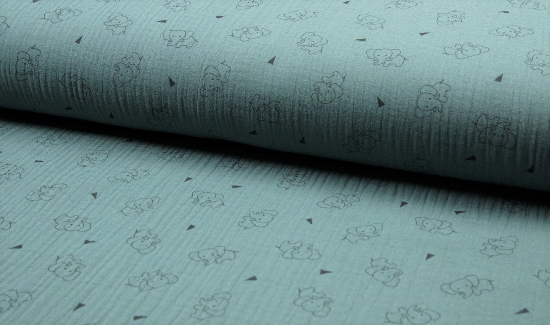 Baumwolle Musselin Triple Gauze dusty mint mit Elefanten