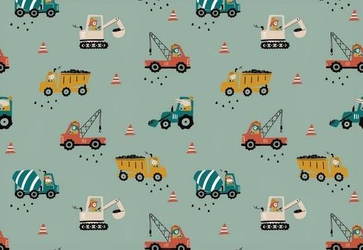 Baumwollstoff mint mit Baustellenfahrzeugen