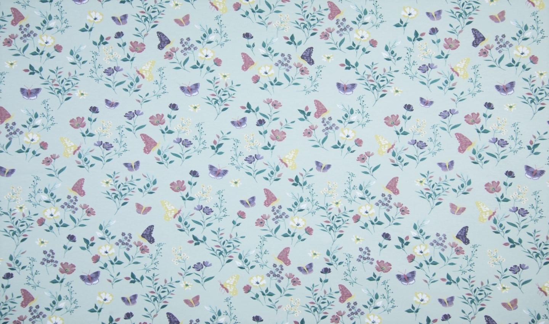 """0,46m Reststück    Baumwolljersey """"Butterflies and Flowers"""" - mint"""