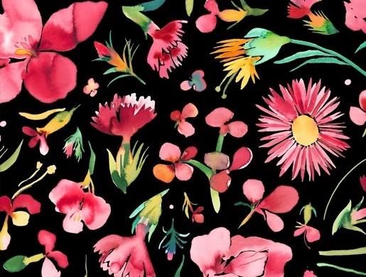 """Canvas schwarz """"Flower Garden"""""""