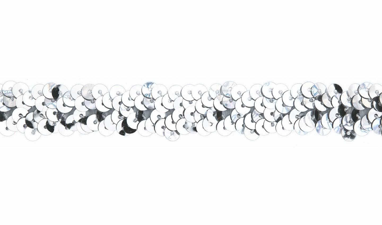 Pailletten Gummiband 20mm silber (561)