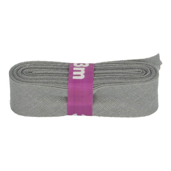 3m Baumwoll Schrägband uni grau 12mm