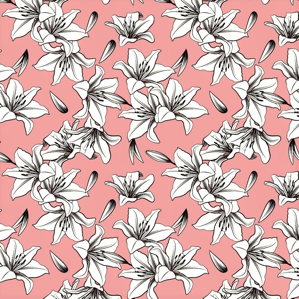"Canvas ""Lily"" mit Blumen - altrosa"