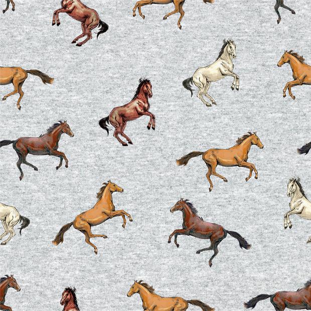 """Sommersweat """"Horses"""" - hellgrau meliert"""