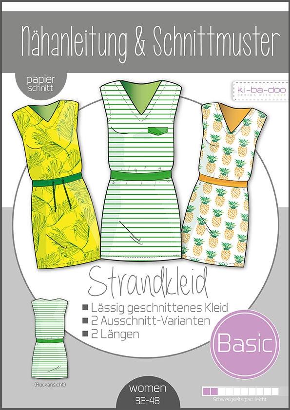 Papierschnittmuster Basic Strandkleid Damen 32-48 von Ki-ba-doo