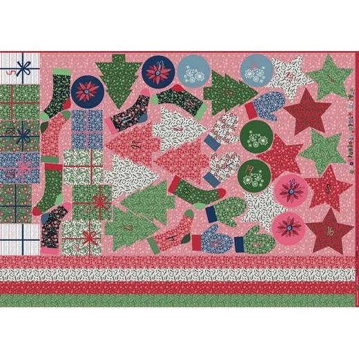 """Baumwollstoff Panel """"Adventskalender Weihnachten"""" rot"""