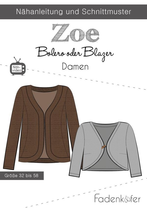 Papierschnittmuster Bolero oder Blazer Zoe für Damen 32-58 von Fadenkäfer
