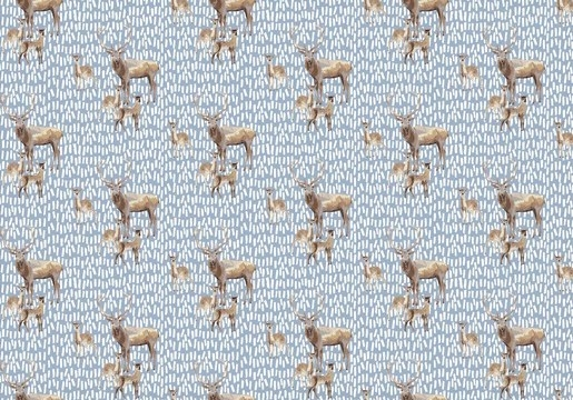 "Canvas blau ""Deer Family"""