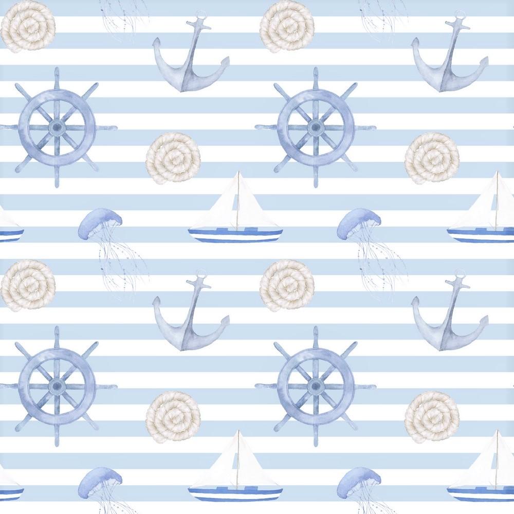 "Canvas Digital ""Sail Away"" - hellblau/weiß gestreift"