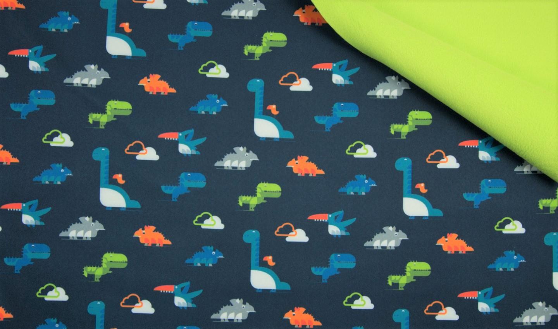 Softshell dunkelblau mit Wolken und Dinosaurier