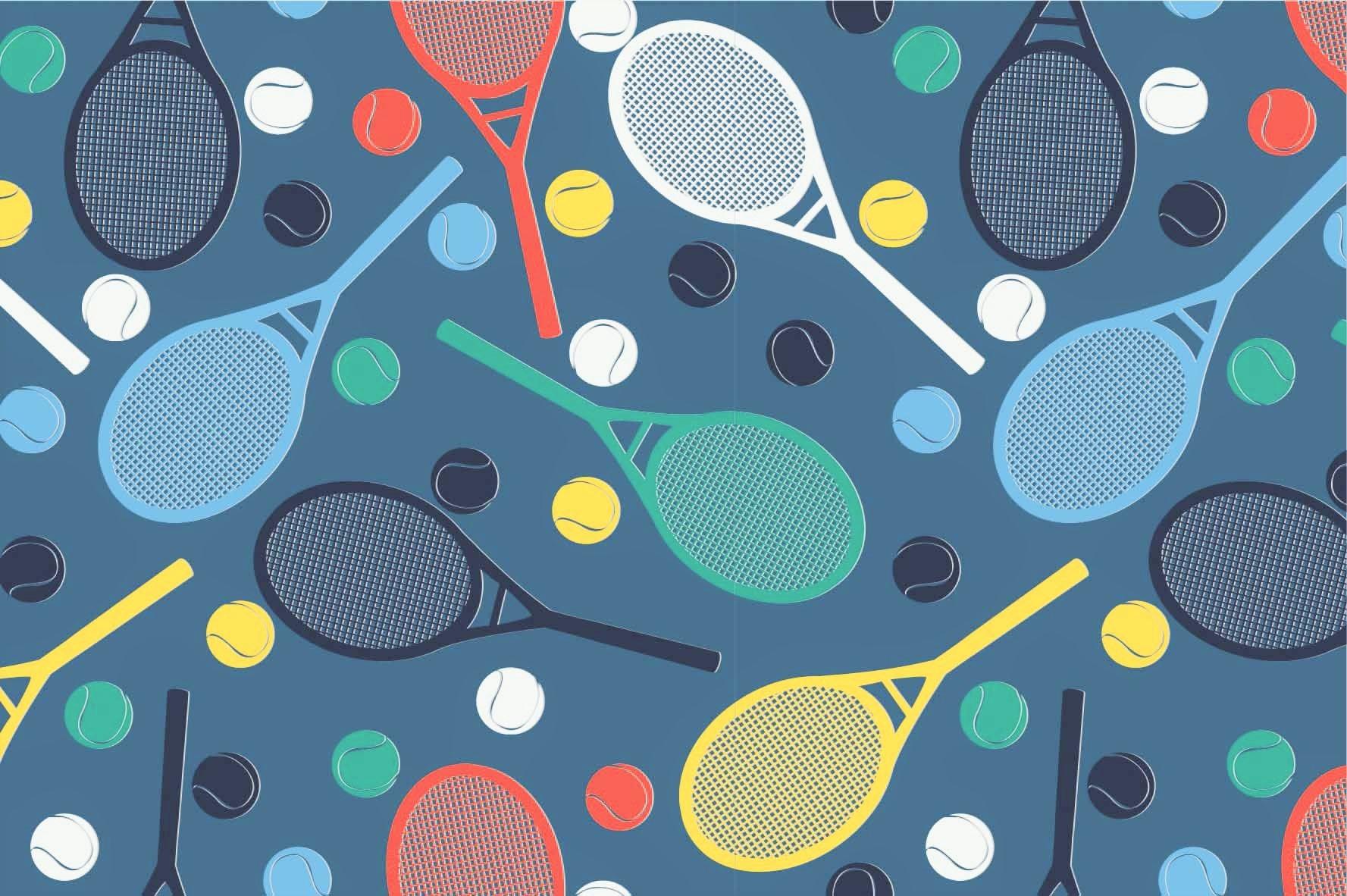 Digitaljersey jeansblau mit Tennisschläger und Bällen